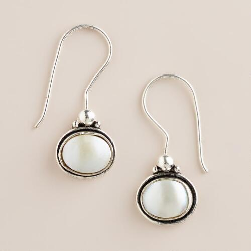 Pearl Oval Drop Earrings