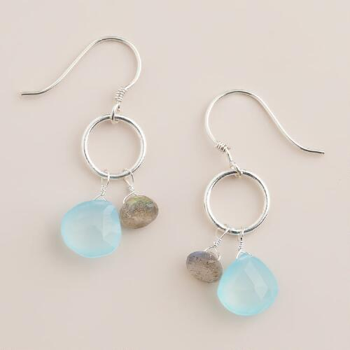 Aqua and Labradorite Dangle Earrings