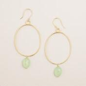 Gold and Mint Drop Hoop Earrings