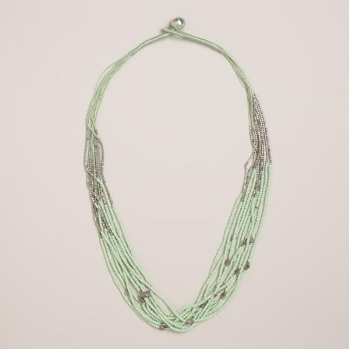 Mint and Silver Multi-Strand Necklace