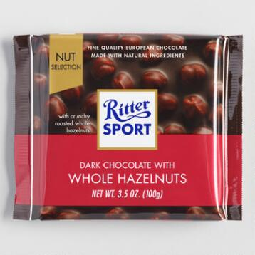 Ritter Sport Dark Chocolate with Hazelnuts, Set of 10