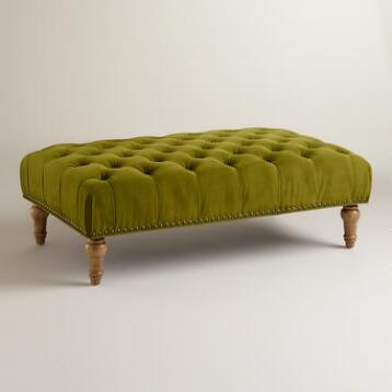 Apple Green Marcelle Tufted Ottoman