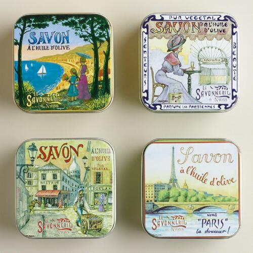 Vintage-Style French Lavender Soap Tins, Set of 4