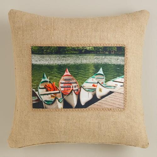 Canoe Photo Throw Pillow