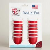 Red Twist and Shot Party Cups, Set of 12