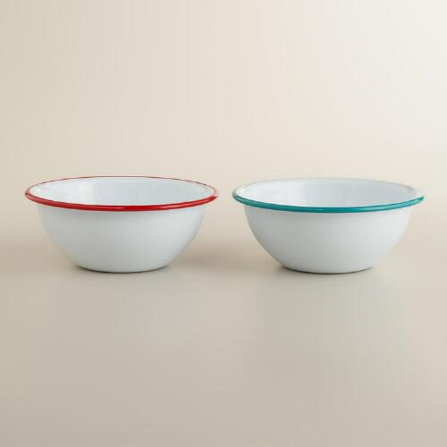 Enamelware Bowls, Set of 2