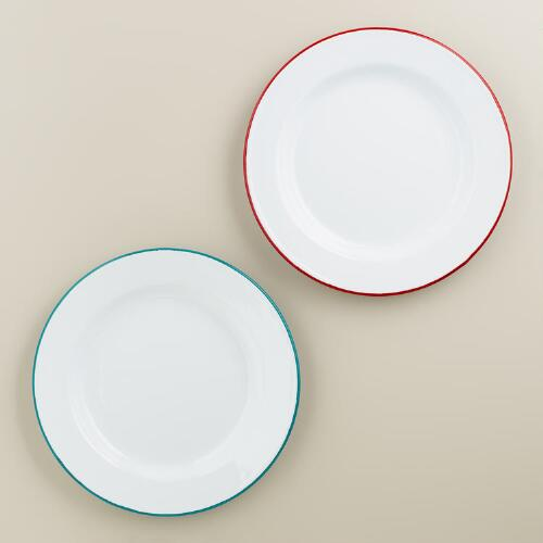 Enamelware Dinner Plates, Set of 2
