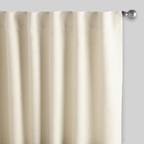 Ivory Herringbone Jute Sleevetop Curtains, Set of 2