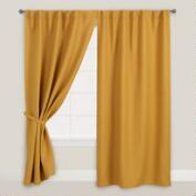 Orange Herringbone Jute Sleevetop Curtains, Set of 2