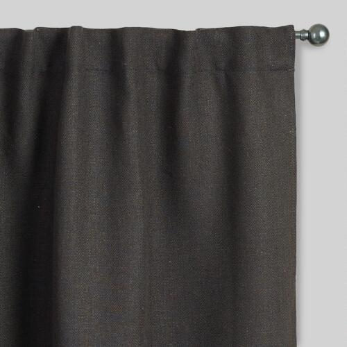 Gray Herringbone Jute Sleevetop Curtains, Set of 2