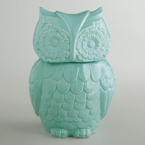 Aqua Owl Cookie Jar
