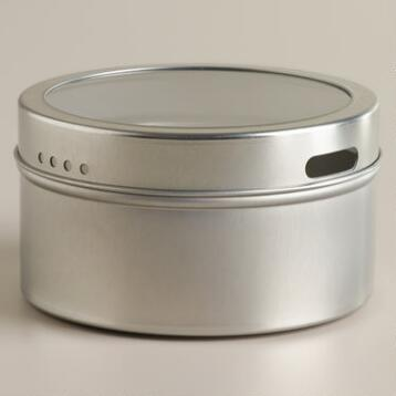 Silver Magnetic Spice Storage Tin, Set of 12