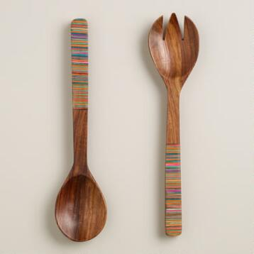 Multicolor Striped Salad Servers, Set of 2