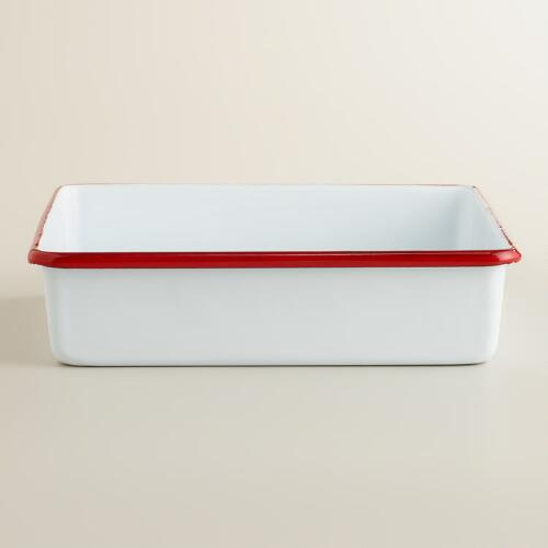Red Square Enamel Baker