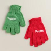 Fruit and Vegetable Scrubbing Gloves, Set of 2