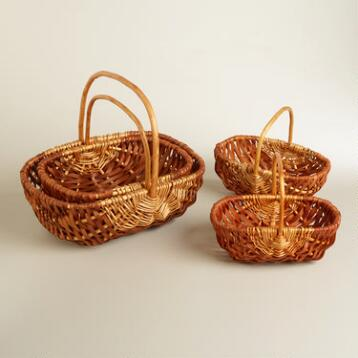 Walnut Oval Jackie Baskets