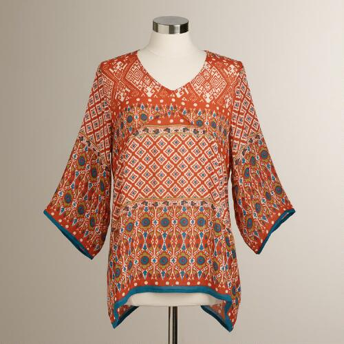 Red Ikat Bianca Top