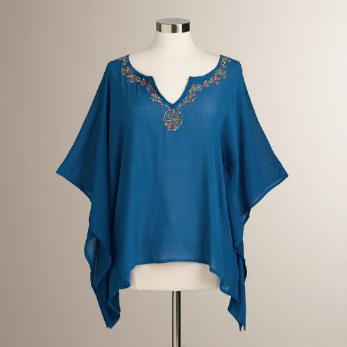 Blue Embroidered Simone Kaftan