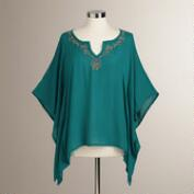 Teal Embroidered Simone Kaftan