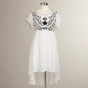 White and Black Embroidered Lydia Dress