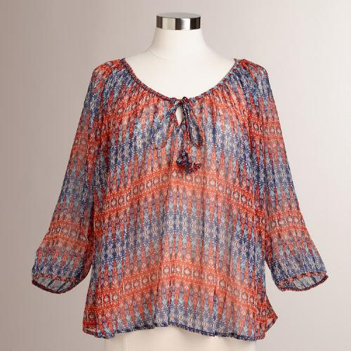 Orange and Blue Corinne Blouse