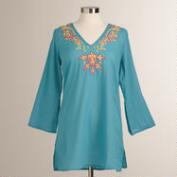 Teal Embroidered Aida Tunic