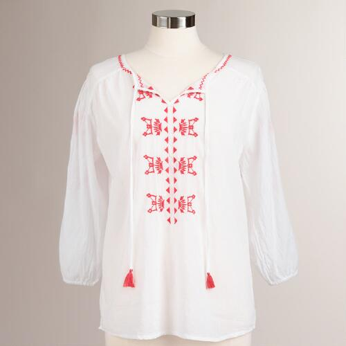 White and Coral Embroidered Daniella Top