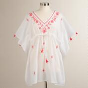 White and Coral Embroidered Esti Kaftan