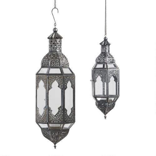 Antiqued Zinc Latika Hanging Lanterns