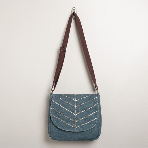 Studded Blue Messenger Bag