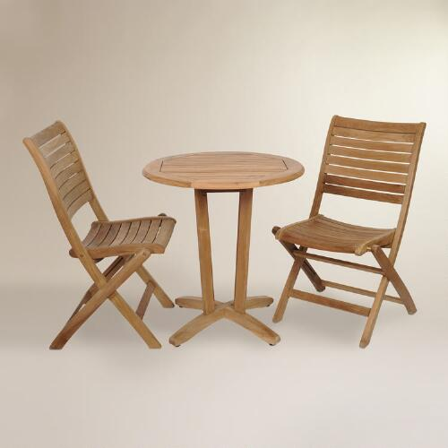Tanjun Teak Outdoor Bistro Set with Folding Side Chairs