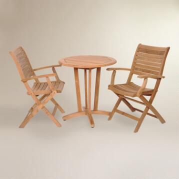 Tanjun Teak Outdoor Bistro Set with Folding Armchairs