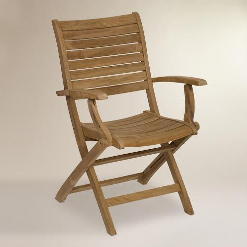 Tanjun Teak Folding Armchairs, Set of 2
