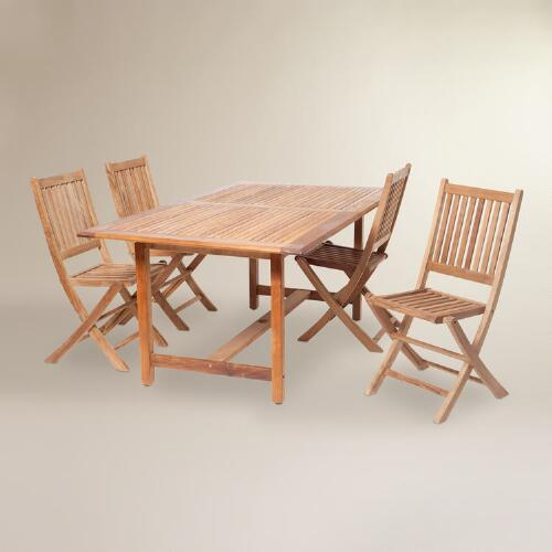 Sumar Teak Outdoor Extension Table Dining Set
