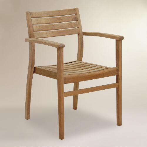 Teak Stacking Armchairs, Set of 4