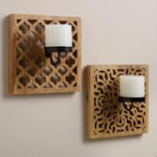 Carved Wood Wall Sconce Candleholders, Set of 2