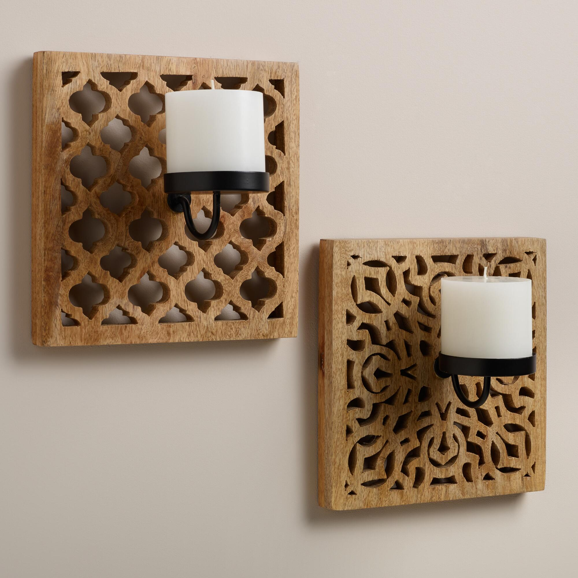 Wall Candle Sconces Wood : Carved Wood Wall Sconce Candleholders, Set of 2 World Market