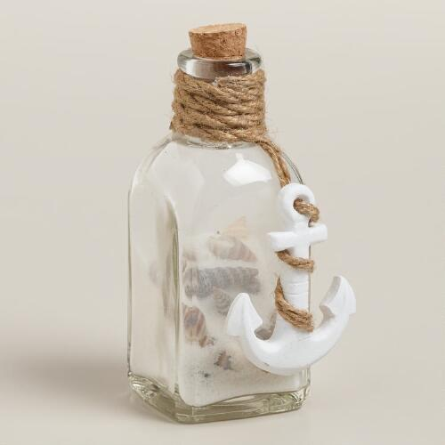 Mini Glass Anchor and Starfish Bottles, Set of 2