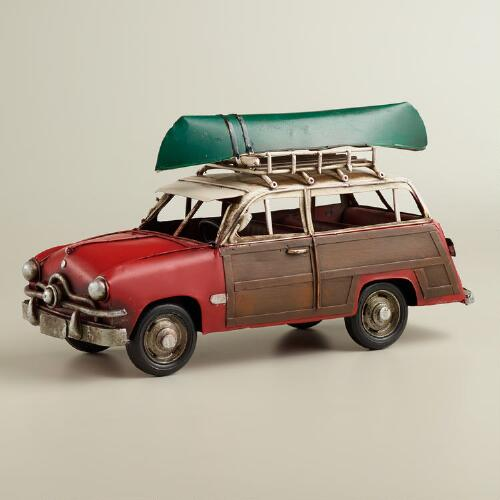 Metal Woodie Car with Canoe Decor