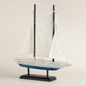 Wooden Sailboat on Stand