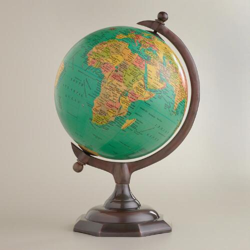 Blue Globe on Bronze Stand