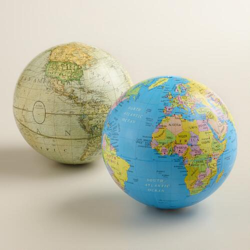 Blue and White Sphere Globes, Set of 2