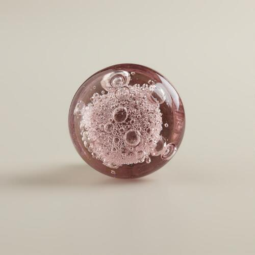 Amethyst Glass Bubble Knobs,  Set of 2
