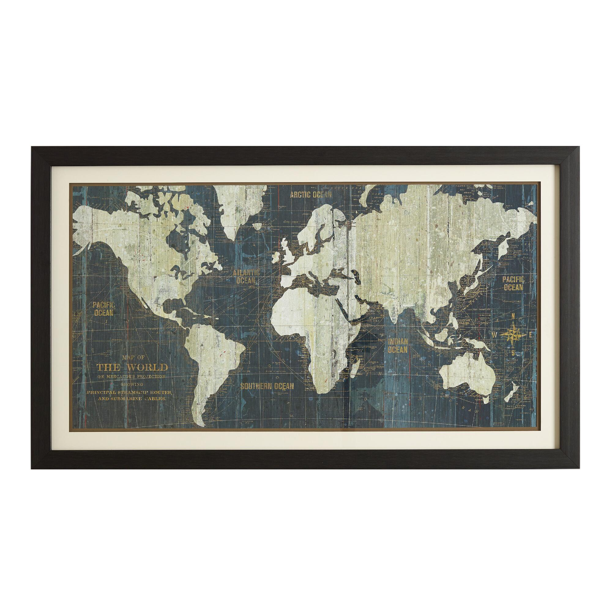 Wall Art Glass Framed : Blue old world map market