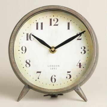 Small Dark Galvanized Metal Charlie Clock