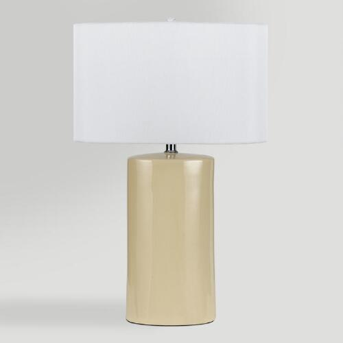 Beige Ceramic Table Lamps, Set of 2