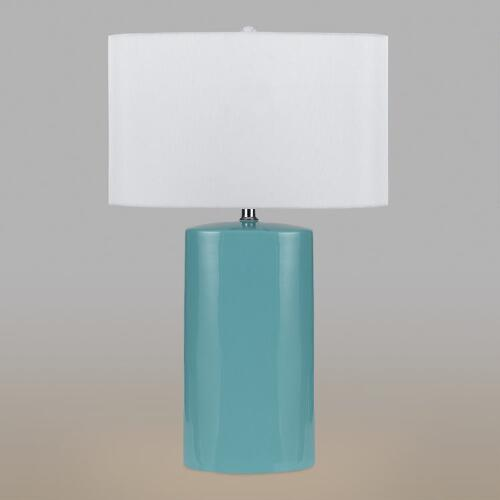 Aqua Ceramic Table Lamps, Set of 2