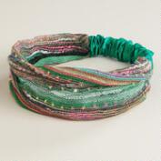 Turquoise Woven Elastic Headband with Lurex