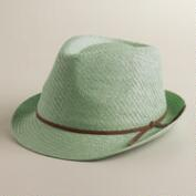 Mint Fedora Hat with Suede Tie