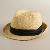 Natural Fedora Hat with Black Ribbon